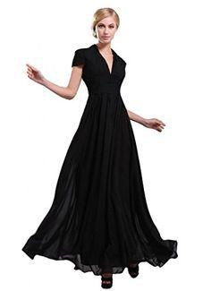 Ikerenwedding Women's Short Sleeves V-neck Empire Long Chiffon Evening Dress Black US10 Ikerenwedding http://www.amazon.com/dp/B00PQAGG9I/ref=cm_sw_r_pi_dp_x5KKvb1JMQK51