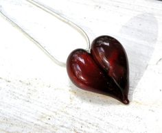 Glass Heart Pendant, Lampwork Necklace, Hand Blown Boro SRA Deep Dark Red