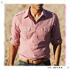 J.Hilburn anamas shirt in red mini gingham ... a modern take on seersucker ... LOVE!!!