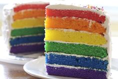 Rainbow Birthday Cake: A pound of butter, folks. A. pound. of. butter.  #heaven