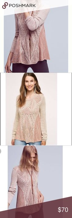 Anita Swing Top from Anthropologie by Moth pink Gorgeous and Warm pink sweater by moth purchased from Anthropologie!  Worn a handful of times..only getting rid of it bc pink really just isn't my color.  In great condition!  Does require a tank top or shirt under it as is a little see-thru in front.  Dry cleaned after every wear. Size small.  Sold out online. Anthropologie Sweaters Crew & Scoop Necks