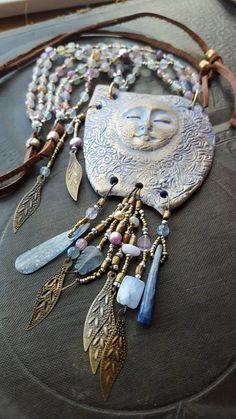 May 2018 – Kaitlin Meadows : mud woman 3 Boho Jewelry, Jewelry Art, Beaded Jewelry, Jewelry Design, Jewellery, Jewelry Ideas, Ceramic Pendant, Ceramic Jewelry, Ceramic Beads