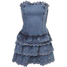 Denim Boobtube Dress ($65) ❤ liked on Polyvore featuring dresses, vestidos, платья, vestiti, jeans &amp denim, women's trousers, blue dress, miss selfridge dress, denim dress and miss selfridge