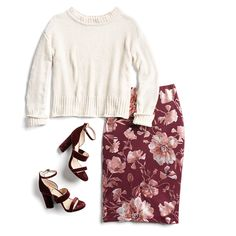 Winter Print Trends - top would be great if it was a lighter weight sweater. Skirt and shoes are adorable.