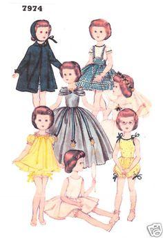 "18"" Vintage Year 1950 Slender Doll Pattern 7974"