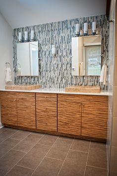 Beautiful backsplash and the double sinks.