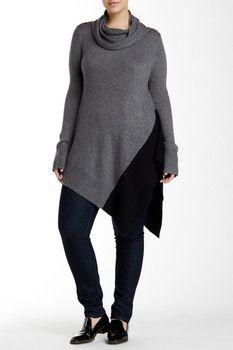 Love Token Cowl Neck Asymmetrical Sweater (Plus Size)