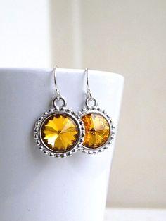 Bridal Earrings Swarovski Yellow Topaz Rivoli by SomsStudio, $16.00