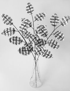 Fabric Leaves- Black and White Sheet Music Musical Notes Branches Gift Idea for Music Lover Musician. Unique Vase Filler $21.00, via Etsy.