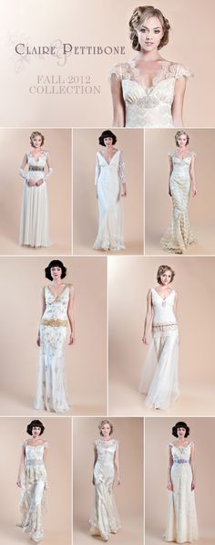 Claire Pettibone Fall 2012 wedding gown collection.  Lace loveliness!  #wedding #bridalgown #clairepettibone