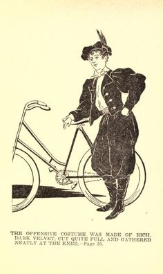 """Dark velvet bicycle bloomer suit, from """"A Study in Bloomers"""" 1895"""