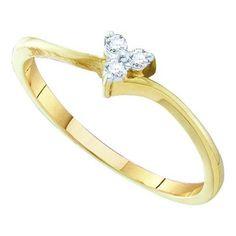 10k Yellow Gold 0.06Ctw Diamond Heart Bridal Ring: Ring