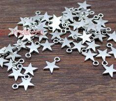 50pcs--Star Charms Antique Tibetan Silver Tone Lovely Mini Star Charm Pendant 13x10mm
