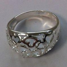 silver ring heart 925 sterling silver jewellery fashion size 8us bobin boutique