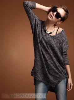 迷惑的な韓国スタイルレジャーコットンバットスリーブTシャツ
