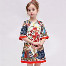 2016 2-7 años una forma mangas tres cuartos de longitud dobby estilo de europa vestido de niña kids niños falda