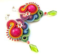 Soutache Earrings. Indian Summer.  Loving the fun colors here.