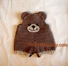 Baby Teddy Bear Shortall Overall Shorties por CathyrenDesigns
