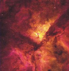 NGC 3372, known as the Great Nebula in Carina, is home to massive stars and changing nebula. Eta Carina, the most energetic star in the nebula was one of the brightest stars in the sky in the 1830s, but then faded dramatically. The Keyhole Nebula, visible near the center, houses several of the most massive stars known and has also changed its appearance. The Carina Nebula is about 7000 light-years away in the constellation of Carina