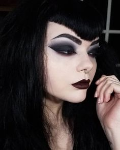 "abbysynth_ Eyeshadow: and Lipstick: Megalast Liquid Catsuit in ""Goth Topic"", Ankh necklace & earrings from Goth Beauty, Dark Beauty, Beauty Makeup, Eye Makeup, Makeup Art, Gothic Makeup, Dark Makeup, Fantasy Makeup, Makeup Inspo"