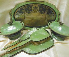 Art Deco Grecian Design Jade Green Celluloid Dresser by JBPacrat