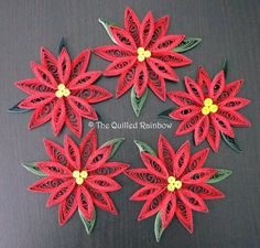 Quilled Poinsettias Set of 5 The Original by TheQuilledRainbow, $47.50