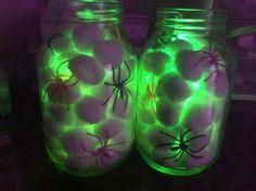 Cute halloween craft mason jar cotton balls glow stick spiders