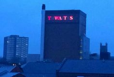 A few years ago a brewery here in the north of England called Thwaites made a lot of people redundant as they downsized. One disgruntled worker changed the sign to this and it could be seen for miles! How To Make Shorts, Funny Signs, Funny Fails, Brewery, Vintage Photos, Laughter, Haha, Funny Pictures, World