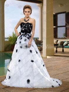 Chaming Strapless Floor-Length Flowers Sashes Court Train Wedding Dress, Sashes