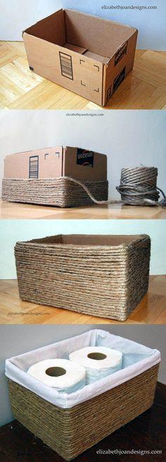 Cesta DIY con cartón, tela y cuerda - elizabethjoandesigns.com - DIY Cardboard Box into Rope Basket #manualidades