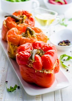 Black Bean and Quinoa Stuffed Red Peppers with Avocado Lime Sauce!