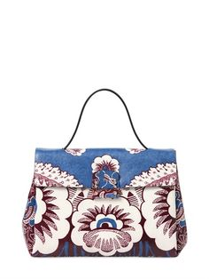 Height: 19cm Width: 27cm Depth: 12cm Handle drop: 13cm VALENTINO - PRINTED LEATHER TOP HANDLE BAG - LUISAVIAROMA - LUXURY SHOPPING ENVIO EN TODO EL MUNDO- FLORENCIA