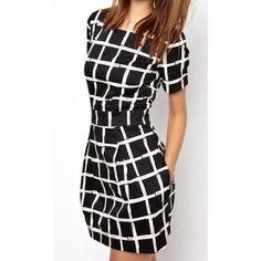Simple Design Scoop Neck Short Sleeve Striped Slimming Women's Dress