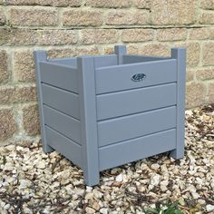 Parisian Dove Grey Wooden Square Planter - Large - The Farthing - 1