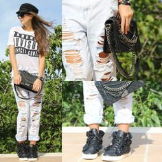 Estelle Pigault - Chanel Camelia Sneakers, Chanel Le Boy Bag, Forever 21 Ripped Jeans, Primark Parental Advisory Tshirt - Flowers and chains