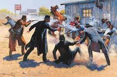 October 26, 1881 the Earp brothers face off against the Clanton-McLaury gang in a legendary shootout at the OK Corral in Tombstone, Arizona.