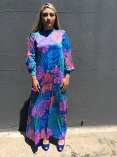Vintage Multi-colored Maxi-Longsleeve Dress