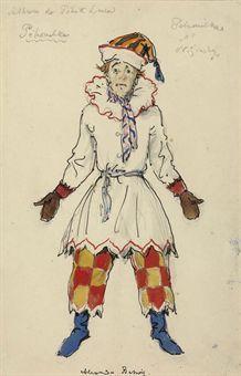 Alexandre Benois (1870-1960) A costume design for Petrushka: Nijinsky as Petrushka