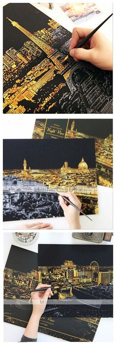 """DIY scratch board of city's night view, be creative and draw your own! Add it to your to-do list tonight now! Get it here in only USD $13.99 ( FREE SHIPPING included) here"