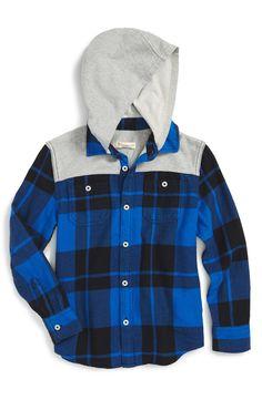 Tucker + Tate Knit Yoke Hooded Flannel Shirt (Toddler Boys, Little Boys & Big Boys)