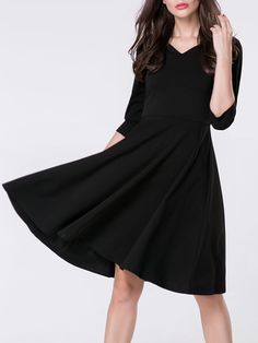 V Neck Plain Half Sleeve Skater Dress Only $25.95 USD More info...