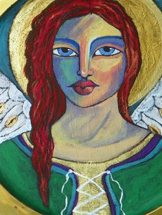 Original Folk & Fine art Angel painting