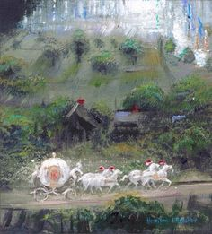 """Cinderella's Coach"" by Harrison Ellenshaw - Original Mixed Media on Canvas,"