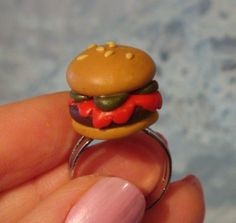 Chili Burger Ring by SnackyHappiness on Etsy, $12.00
