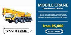 Mobile crane training school Call us 277-315-824-36    Mobile crane operator training course fees is affordable for any one. and operators earn a salary from R7, 000-R27, 000 depending on the experience of the driver. Skills include: Mobile crane operator is responsible for the safety of the crane operation as soon as the load is lifted clear of the ground. Because of this responsibility, whenever there is reasonable cause to believe that the lift might be dangerous or unsafe, the mobile… Provinces Of South Africa, Kempton Park, Training School, Free State, Port Elizabeth, Free Classified Ads, African Countries, Training Courses, Safety Tips