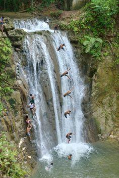 "A 20 meter jumping in waterfall called ""La Saltadera"" in Rio San Juan, Dominican Republic."