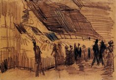 Strollers and Onlookers at a Place of Entertainment - Vincent van Gogh 1887  Pencil, chalk on paper  Post-impressionism  Van Gogh Museum, Amsterdam, Netherlands