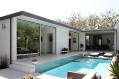Name: Chris SavoyLocation: Hollywood — Los Angeles, CASize: square feet- 3 bedroom, bathYears lived in: 6 months- own Pool House Plans, Modern House Plans, Modern House Design, Small Villa, Casas Containers, Backyard Pool Designs, Container House Design, Villa Design, Facade House
