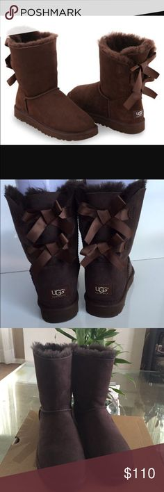 NEW UGG BAILEY BOW Chocolate The Bailey Bow is embellished with fixed,Double ribbon bows at the back.  Original box. UGG Shoes Winter & Rain Boots