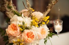 Mossy Branches, Juliet Garden Roses, and Yellow Mimosa with hanging votives, design by Life in Bloom, Photo by Julia Franzosa